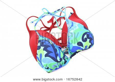red and blue bikini isolated on white