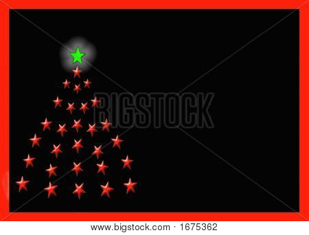 Christmas Tree Of Stars Over Black