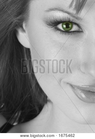 Beautiful Woman Half Portrait In Black And White With Green Eyes