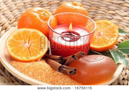 aromatic tangerine bath - bath glycerine soap and fresh tangerines