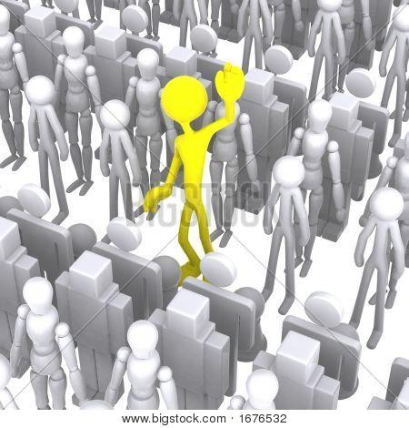 3D Menschen, der von der Menge unterscheidet