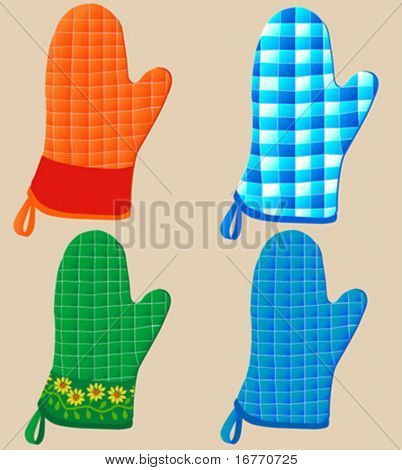 Don't burn your fingers baking vector cookies; choose one of these four comfy quilted Oven Mitts.