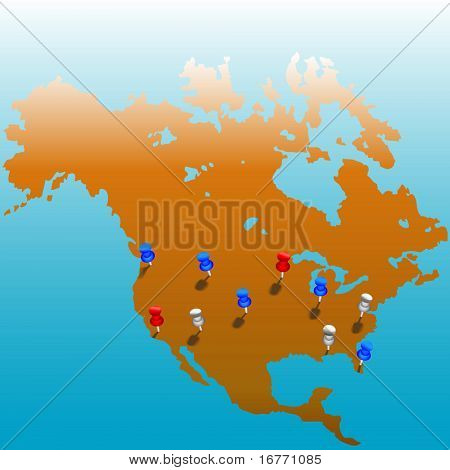 Stick pins in the US. Map of America & color tacks. Bleeds to white at top; copyspace galore.