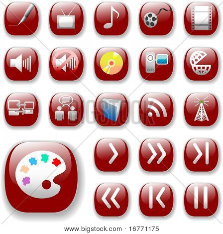 Your set of shiny button icons is ready. The ruby red Digital Art, Media & Communication Collection.