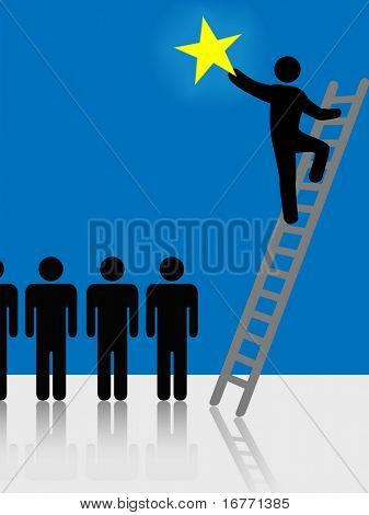 Person climbs a ladder to success to raise a star. Symbol of stardom, celebrity, successful people, hope.