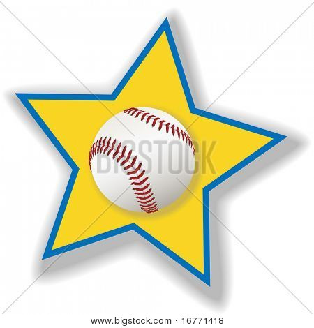 A clean, white baseball or softball on a star background for all star baseball. Sports illustration.