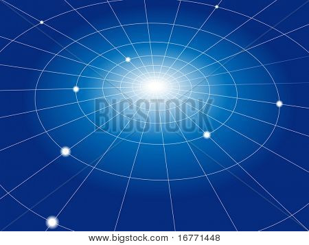 A concentric abstract network of grid lines connects nodes. Abstract background.