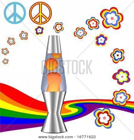 A psychedelic 60's 70's Hippie Kit with red orange lava lamp & retro flower power rainbow elements.