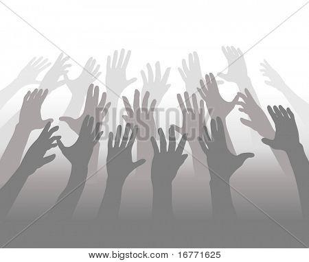 Una multitud de gente que se mezcla en tonos de gris llega a sus manos para copyspace blanco.