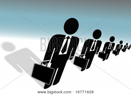 Team of symbol business people, row of suits, with briefcases, human resources ready to work for you.