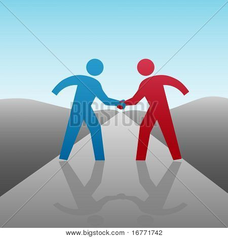 People join in a handshake & agree to progress together & cooperate in a business or other deal as a team. People are on a clipping path.