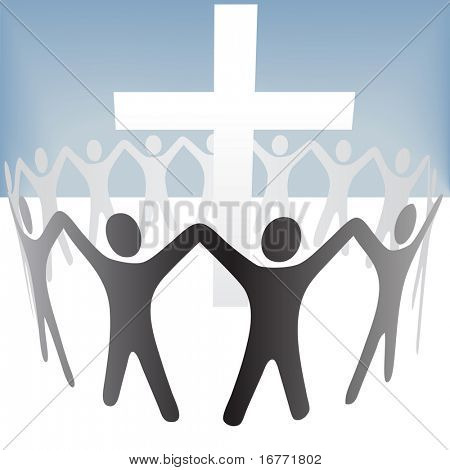 A group of people circle around a cross, hold up their hands. Included a clipping path of the people in front and a clipping path of the people in back.