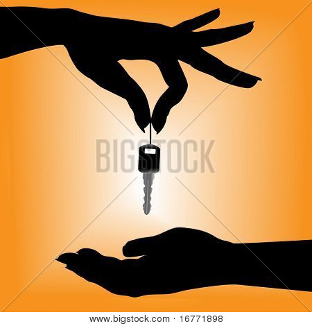 A silhouette female hand holds an auto key over a cupped hand against an orange background. Includes 3 clipping paths: holding hand; key; cupped hand.