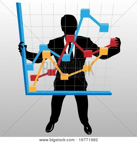 A businessman silhouette holds up a financial profit growth chart, in a view from above.