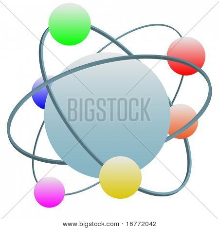 Idealized high technology atom symbol with colorful electrons in quantum layers around the nucleus.