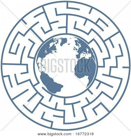 Planet Earth inside a radial maze as a symbol of puzzling world problems.