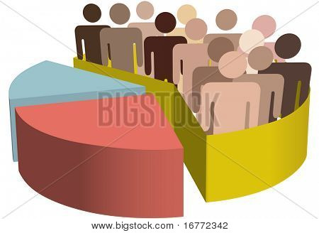 A chart with a diverse group of people as symbols of majority, population, team, market, customers, audience, voters.