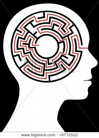 A circular maze puzzle as a mind inside a person's profile  head.