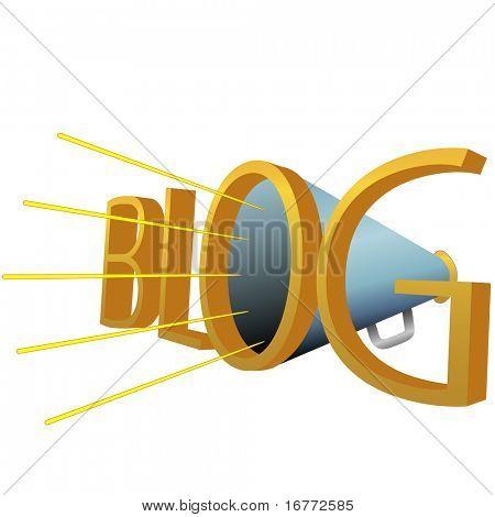 A Big Blue BLOG 3D Megaphone for loud high powered blogging.