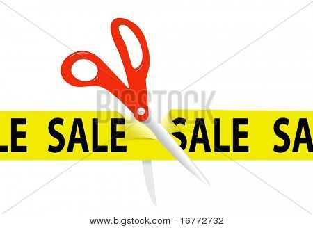 A pair of orange scissors cut a bright yellow SALE ribbon tape to open a sale at a retail store or website.