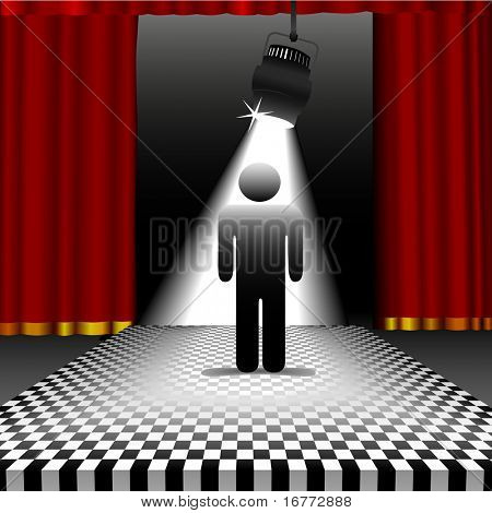 A symbol person shines in the center of a checkerboard stage in the spotlight with red curtains.