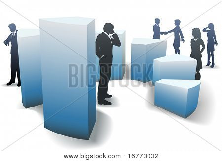 Business men and women work and network amid a group of bar graph shapes.