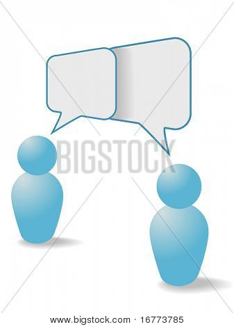Two people symbols share talk together in overlapping social media communication speech bubbles.
