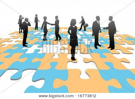 Human resources issues and other people issues and find solutions on jigsaw puzzle pieces.