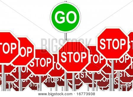 A green GO sign symbol rises above negative STOP Signs.