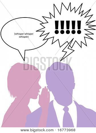 A woman whispers to confide secret gossip to business man.