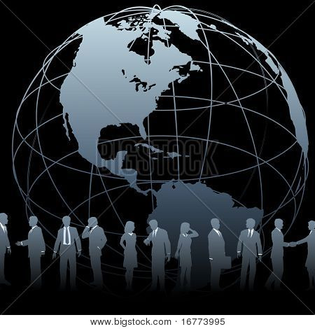 A globe symbol and international business people silhouettes on a black background.