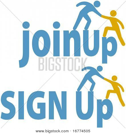 Member helps a person sign up to join a group company or website icons