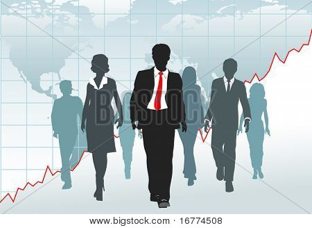 Global Business People walk from a financial growth chart on world map