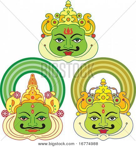 Masks used in Kathakali, the Famous dance-drama of Kerala