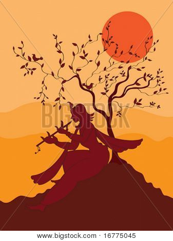 Shadow Art, Krishna Playing Flute Under Tree, in sunset background