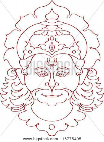 Hanuman the hindu ape god, He is one of the most important personalities in the Indian epic, the Ramayana.