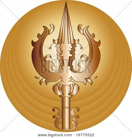 Trishul (trident of God Shiv) trisula, Thai: trisun) is a type of traditional Indian trident, usually a Hindu religious symbol.