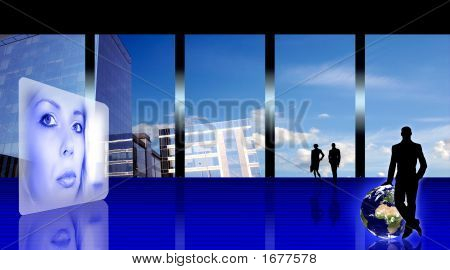 Stylized Business Office Interior With Woman'S Hologram, People Silhouettes And The Earth Planet