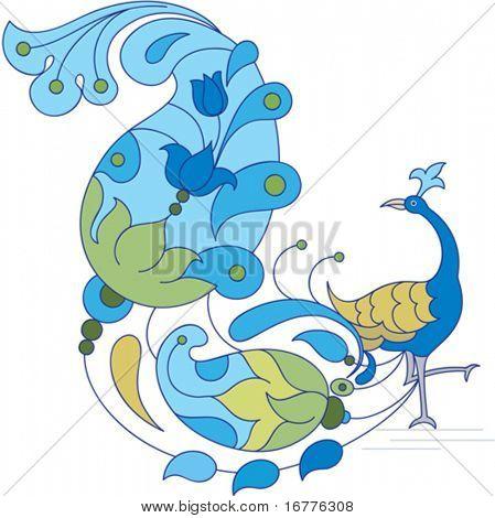 Peacock artistic hand drawn Ornamental design