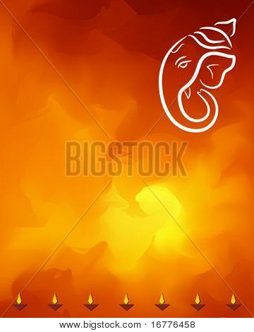 Ganesha and diya festival abstract background
