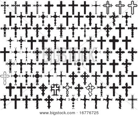 Vector 104 Christian Crosses (it can be used in Tattoo, Mehandi, Printing, Vinyl Cutting)