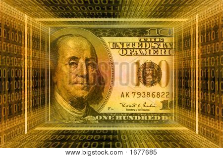Money Concept, Usa Dollars. Global Information Technology, Binary Code Tunnel.
