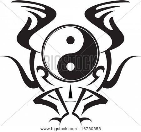 Ying Yang Winged Tattoo