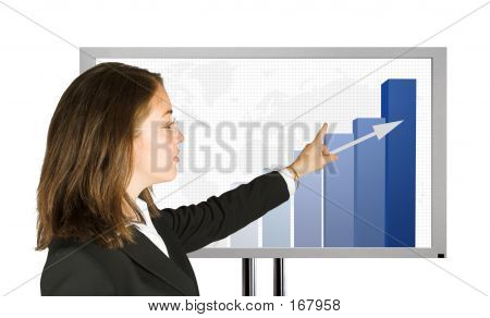 Business Woman Presenting Success Stats