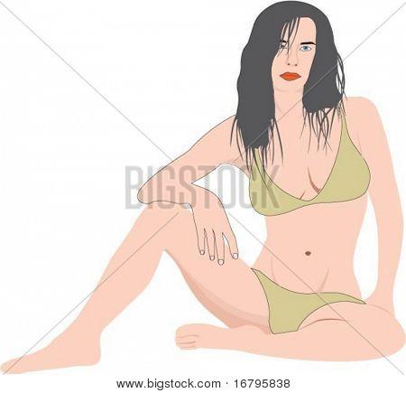 Frau in Schwimmanzüge, Vektor