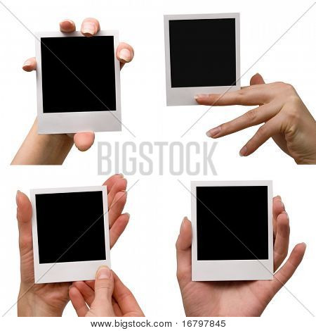 female holding blank photo set, isolated on white