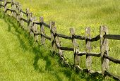 image of split rail fence  - an old fence divides a green pasture - JPG