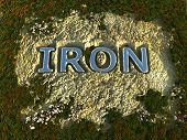 stock photo of ore lead  - Iron text in the rock ground  - JPG