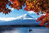 Mt Fuji In Autumn View From Lake Kawaguchiko poster