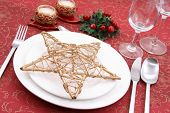 picture of christmas dinner  - Christmas table setting  - JPG